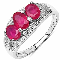 1.65CTW Glass Filled Ruby .925 Sterling Silver 3 Stone Ring