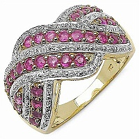 1.17CTW Genuine Ruby Gold Plated .925 Sterling Silver Ring
