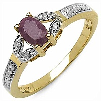 0.67CTW Ruby & White Diamond .925 Sterling Silver Gold Plate