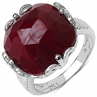 19.50CTW Genuine Dyed Ruby .925 Sterling Silver Ring