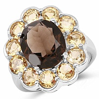 6.90CTW Genuine Smoky Topaz & Citrine .925 Sterling Silver Ring