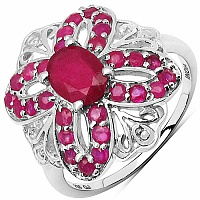 2.12CTW Glass Filled Ruby & Ruby .925 Sterling Silver Ring