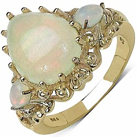 3.55CTW Genuine Opal .925 Sterling Silver Ring