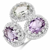 5.30CTW Multi Amethyst .925 Sterling Silver Ring