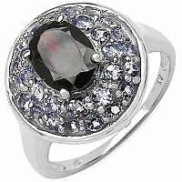 2.50CTW Genuine Garnet & Tanzanite .925 Sterling Silver Ring