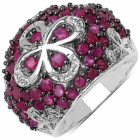 3.06CTW Genuine Ruby 14K Yellow Gold Plated .925 Sterling Si
