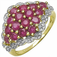 2.24CTW Genuine Ruby .925 Sterling Silver Gold Plated Ring