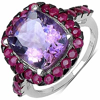 5.10CTW Genuine Amethyst & Ruby .925 Sterling Silver Ring