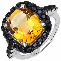 5.81CTW Genuine Citrine & Black Spinel .925 Sterling Silver