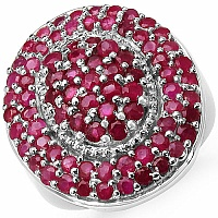 3.39CTW Genuine Ruby .925 Sterling Silver Cluster Ring