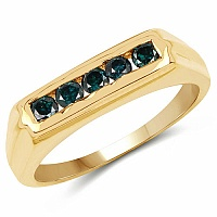 0.50CTW Genuine Blue Diamond .925 Sterling Silver Gold Plated R