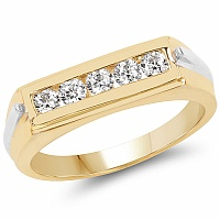 1.15CTW White Cubic Zircon .925 Sterling Silver Gold Plated Rin