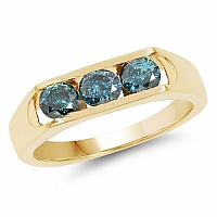 0.99CTW Genuine Blue Diamond .925 Sterling Silver Gold Plated R