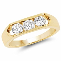 1.70CTW Genuine White Cubic Zircon .925 Sterling Silver Gold Pl