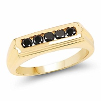0.40CTW Genuine Black Diamond .925 Sterling Silver Gold Plated