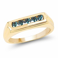 0.40CTW Genuine Blue Diamond .925 Sterling Silver Gold Plated M