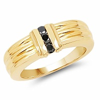 0.24CTW Genuine Black Diamond .925 Sterling Silver Gold Plated