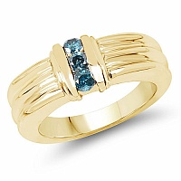 0.24CTW Genuine Blue Diamond .925 Sterling Silver Gold Plated M