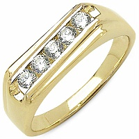 0.80CTW Genuine White Cubic Zircon .925 Sterling Silver Gold Pl
