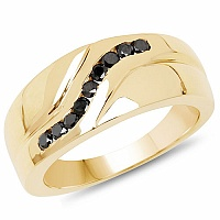 0.27CTW Genuine Black Diamond .925 Sterling Silver Gold Plated