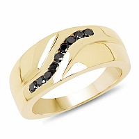 0.27CTW Genuine Black Diamond .925 Sterling Silver Men's Ring