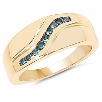 0.27CTW Genuine Blue Diamond .925 Sterling Silver Gold Plated M