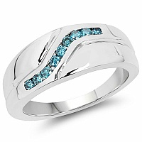 0.27CTW Genuine Blue Diamond .925 Sterling Silver Men's Ring