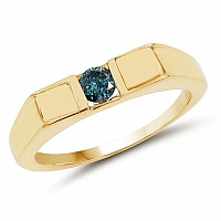 0.25CTW Genuine Blue Diamond .925 Sterling Silver Gold Plated M