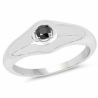 0.16CTW Genuine Black Diamond .925 Sterling Silver Men's Ring