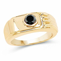 0.50CTW Genuine Black Diamond .925 Sterling Silver Gold Plated