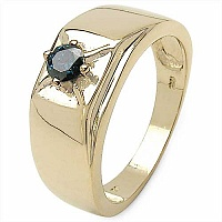 0.05CTW Genuine Blue Diamond .925 Sterling Silver Gold Plate