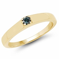 0.12CTW Genuine Blue Diamond .925 Sterling Silver Gold Plated M