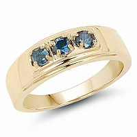0.33CTW Genuine Blue Diamond .925 Sterling Silver Gold Plated M