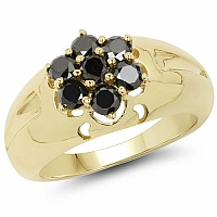 0.98CTW Genuine Black Diamond .925 Sterling Silver Gold Plated