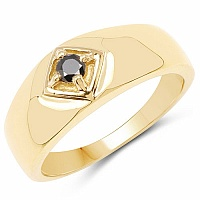 0.12CTW Genuine Black Diamond .925 Sterling Silver Gold Plated