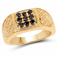 0.36CTW Genuine Black Diamond .925 Sterling Silver Gold Plated