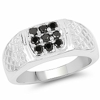 0.36CTW Genuine Black Diamond .925 Sterling Silver Men's Ring