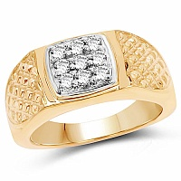 0.90CTW Genuine White Cubic Zircon .925 Sterling Silver Gold Pl