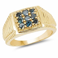 0.63CTW Genuine Blue Diamond .925 Sterling Silver Gold Plated M