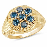 1.40CTW Genuine Blue Diamond .925 Sterling Silver Gold Plated M