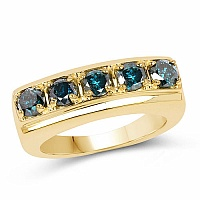 1.10CTW Genuine Blue Diamond .925 Sterling Silver Gold Plated R