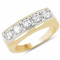 2.40CTW Genuine White Cubic Zircon .925 Sterling Silver Gold Pl