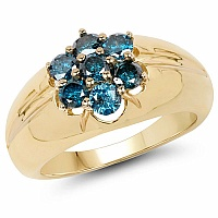 0.91CTW Genuine Blue Diamond .925 Sterling Silver Gold Plated M