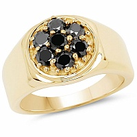 0.91CTW Genuine Black Diamond .925 Sterling Silver Gold Plated
