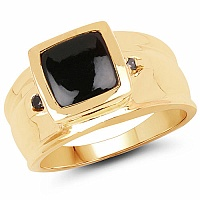 0.46CTW Genuine Black Diamond & Onyx .925 Sterling Silver Gold