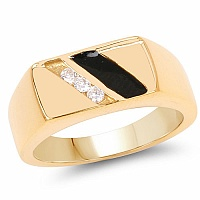 0.15CTW White Cubic Zircon Gold Plated .925 Sterling Silver Bla