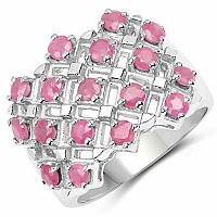 1.53CTW Genuine Ruby .925 Sterling Silver Ring