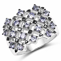 1.53CTW Genuine Tanzanite .925 Sterling Silver Ring