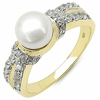 2.27CTW Genuine Pearl & White Cubic Zircon .925 Sterling Silver