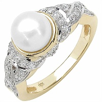 2.91CTW Genuine Pearl & White Cubic Zircon .925 Sterling Silver